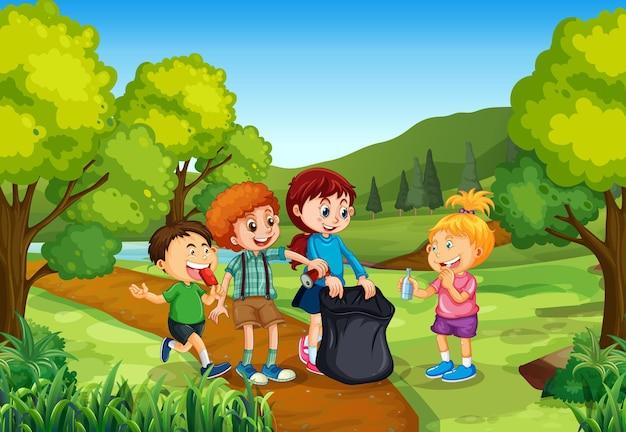 Дети на фоне природы ourdoor Бесплатные векторы