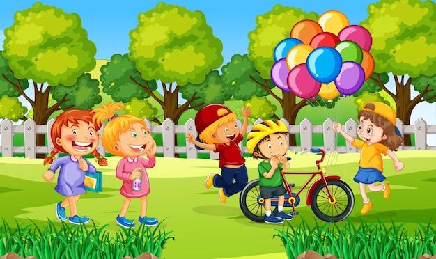 Дети на открытом воздухе иллюстрации природы Бесплатные векторы
