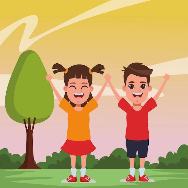Children avatar cartoon character portrait Free Vector