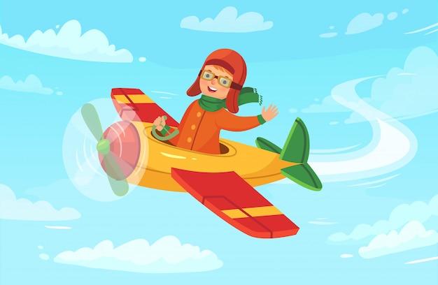 Детский полет летчика в самолете, полет маленького мальчика и полет самолета в небе, векторная иллюстрация Premium векторы