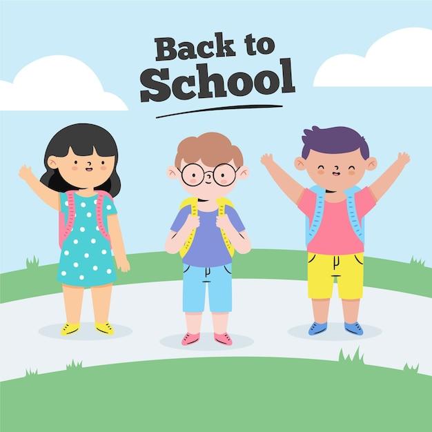 Children back to school draw Free Vector