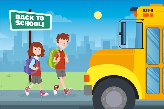 I bambini tornano a scuola disegnati a mano Vettore gratuito