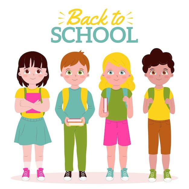 I bambini tornano a scuola Vettore gratuito