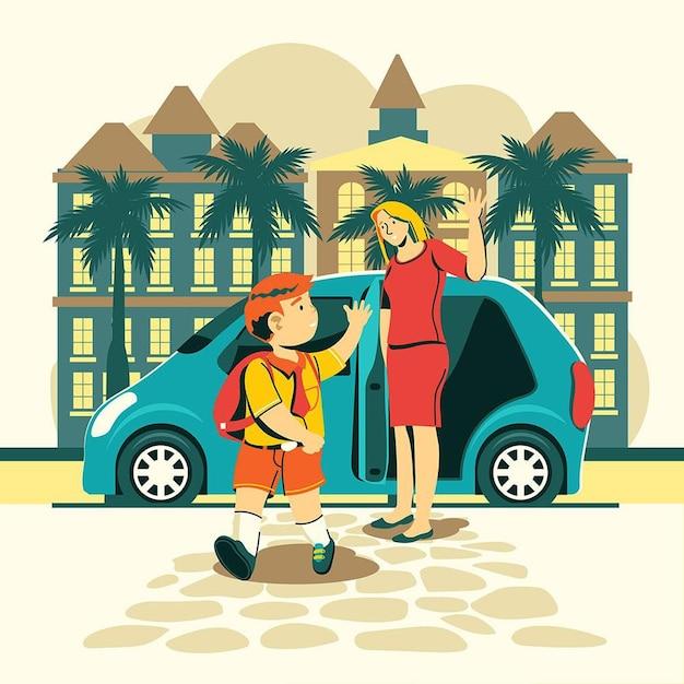 I bambini tornano a scuola con i genitori Vettore gratuito