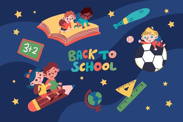 学校のイラストに戻る子供 無料ベクター