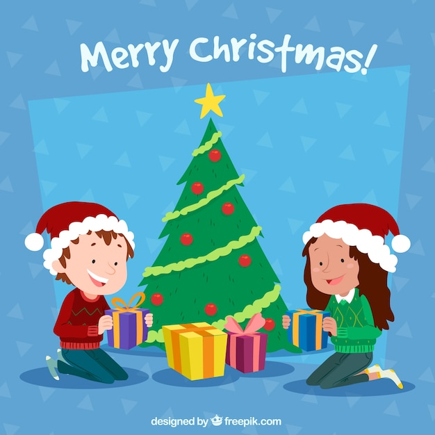 Children background with christmas tree