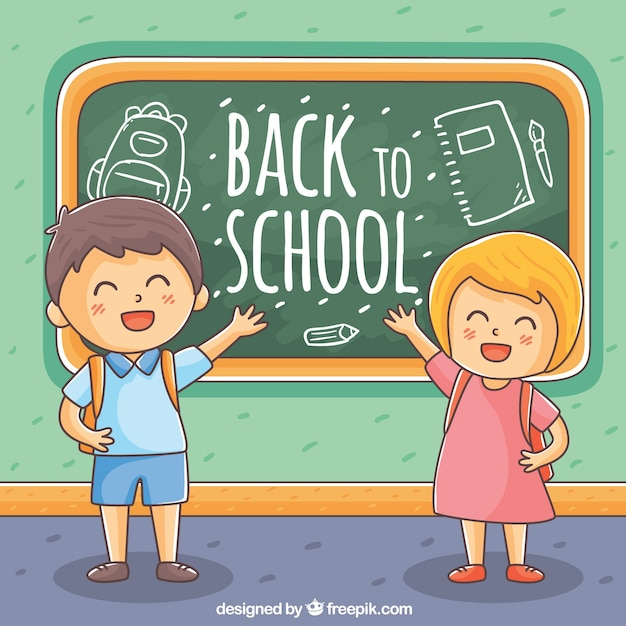 Children background with hand drawn blackboard Free Vector