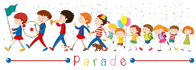 Children and the band in the parade illustration Free Vector