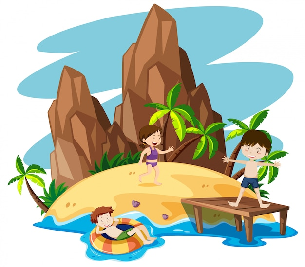Children at the beach Free Vector