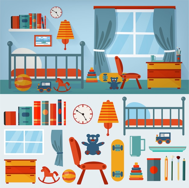Children bedroom interior with furniture and set of toys Premium Vector