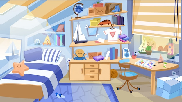 Children bedroom interior with furniture and toys. Premium Vector
