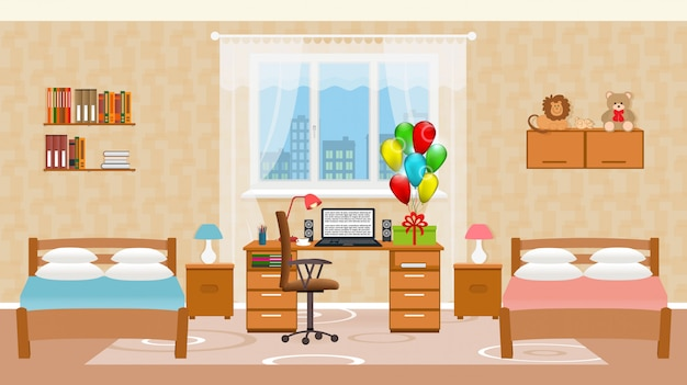 Children bedroom interior with two beds Premium Vector