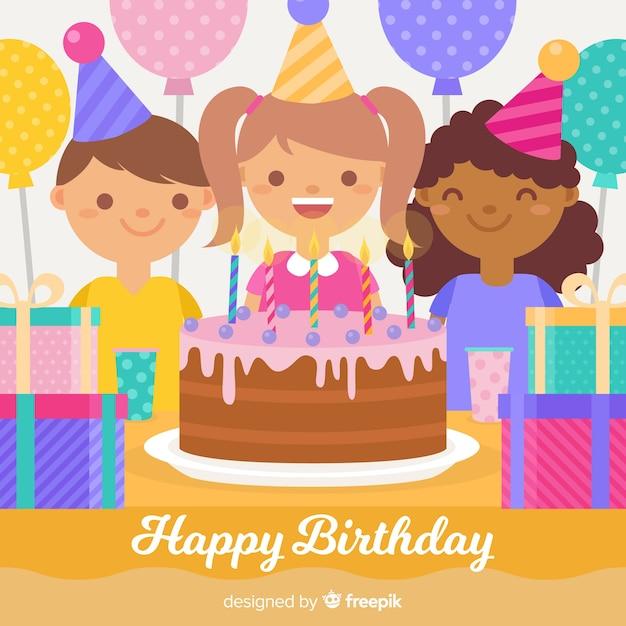 Children birthday background Free Vector