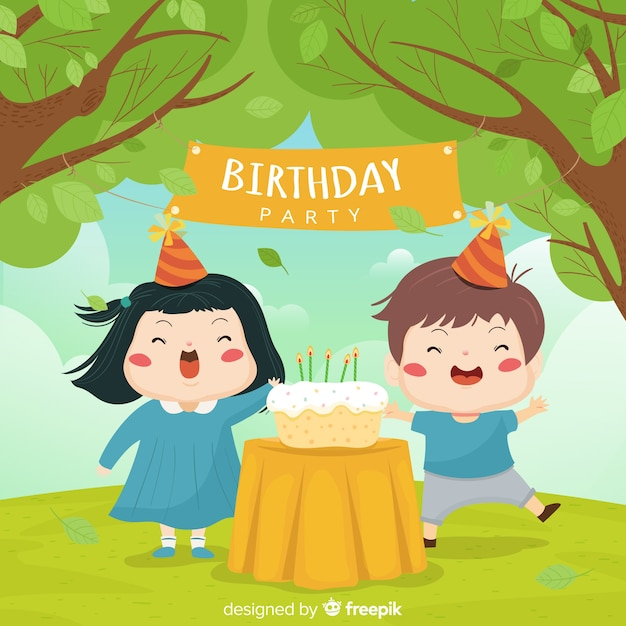 Children birthday background Free Vector