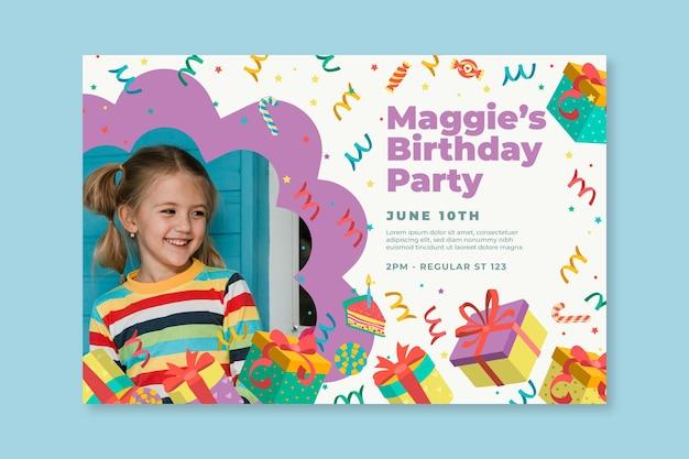 Детский день рождения баннер шаблон Бесплатные векторы