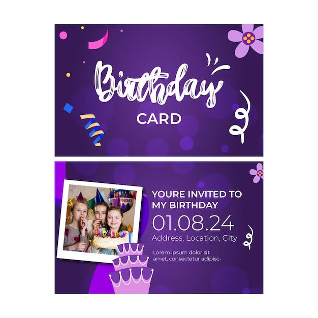 子供の誕生日カード 無料ベクター
