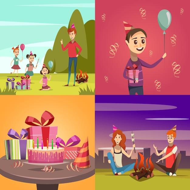 Children birthday concept icons set Free Vector