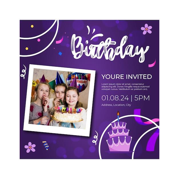 Modello di volantino di compleanno per bambini Vettore gratuito