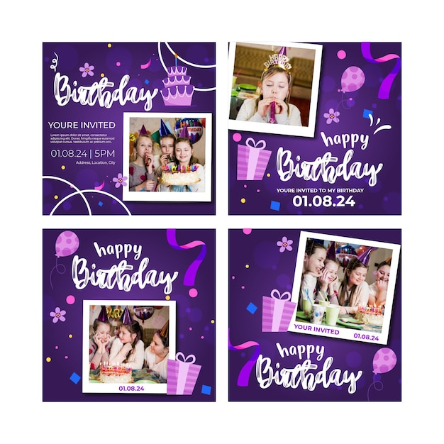 子供の誕生日のinstagramの投稿 無料ベクター