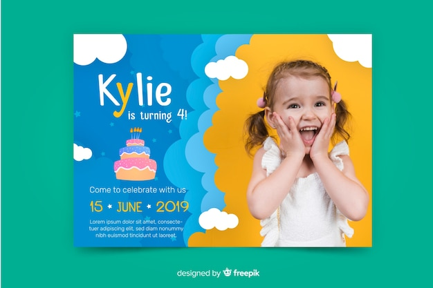 Children birthday invitation template with image Free Vector