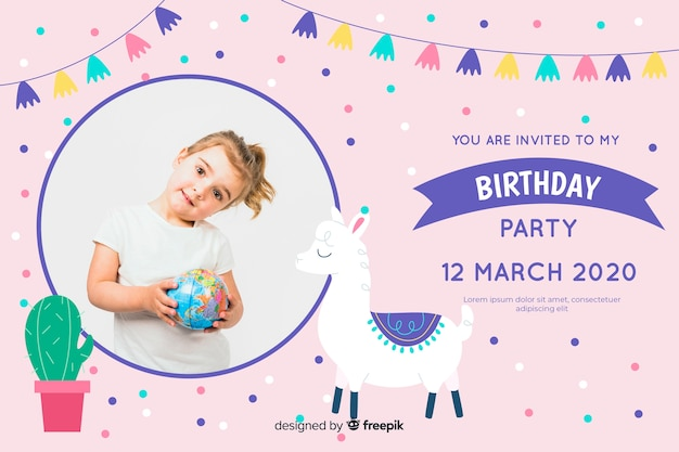 Children birthday invitation template with photo Free Vector
