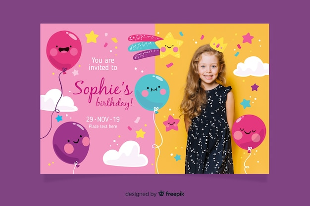 Children birthday invitation template Free Vector