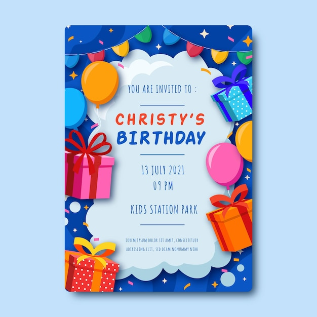 Children  birthday invitation Free Vector