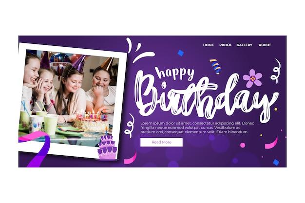 Children birthday landing page Free Vector