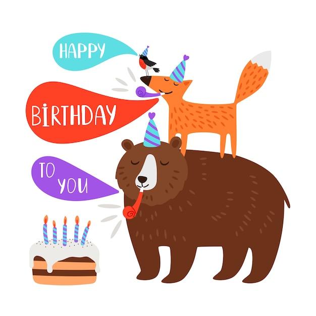 Children birthday party card animals Premium Vector