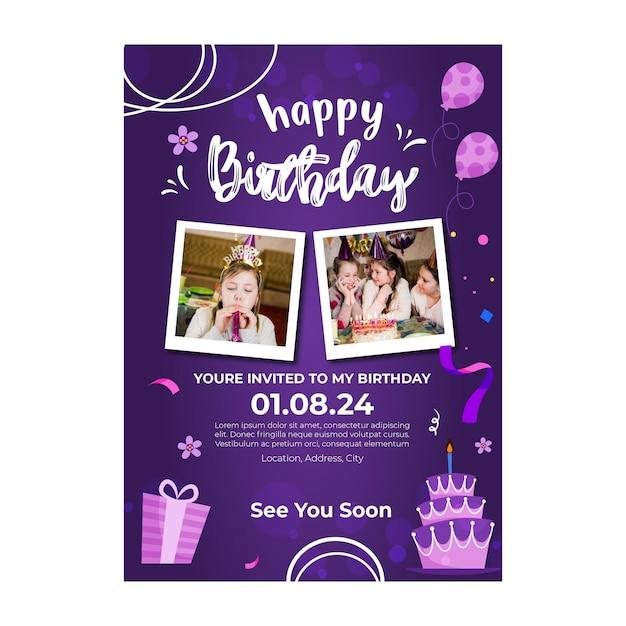 Poster di compleanno per bambini Vettore gratuito