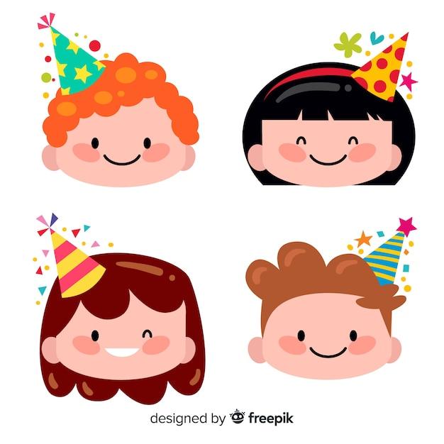 Children in birthdays collection Free Vector