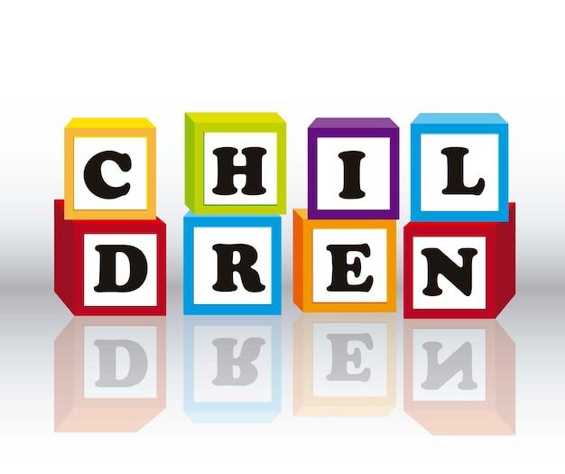 Дети блоков с тенью на сером фоне векторных иллюстраций Premium векторы