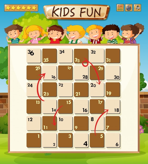 Children on board game template Free Vector