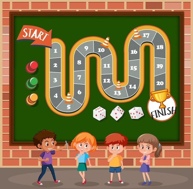 Children on boardgame template Premium Vector