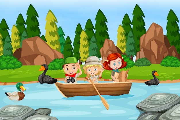 Children in a boat scene Premium Vector