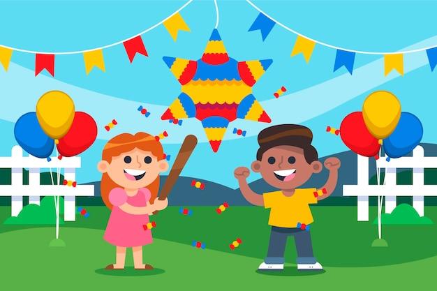 Bambini che rompono evento posada pinata Vettore gratuito