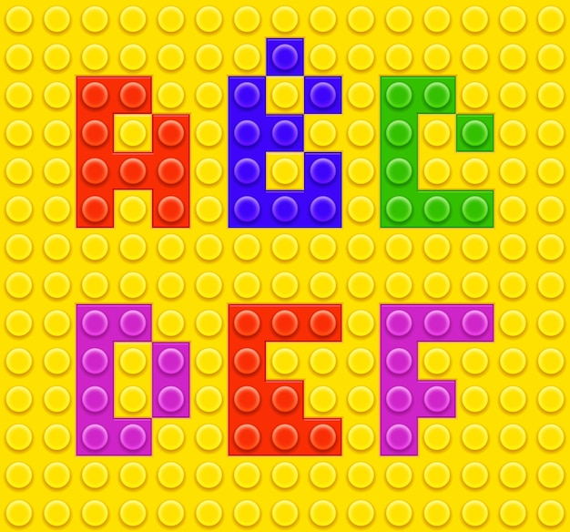 Alfabeto di giocattoli in mattoni per bambini Vettore gratuito
