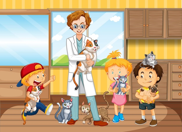 Children bring their pet to see a veterinary doctor Free Vector