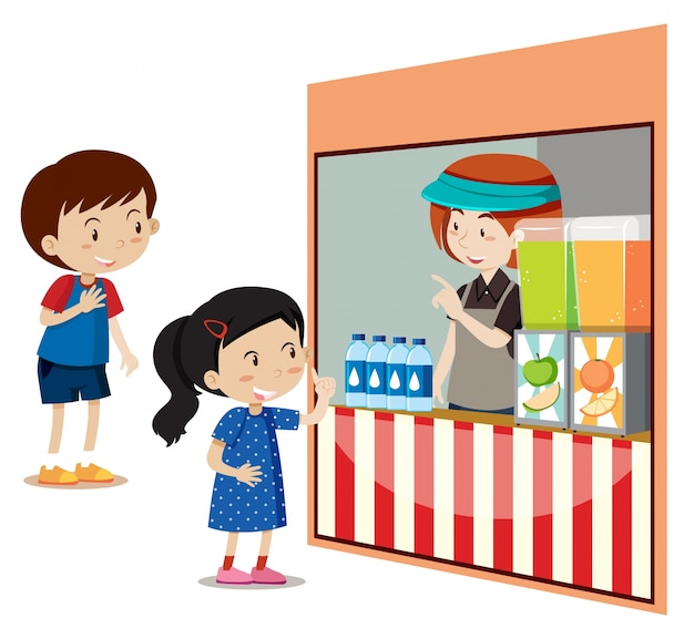 Children buying drinks at the store Free Vector