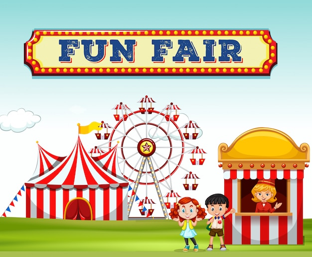 Children buying ticket at fun fair Free Vector