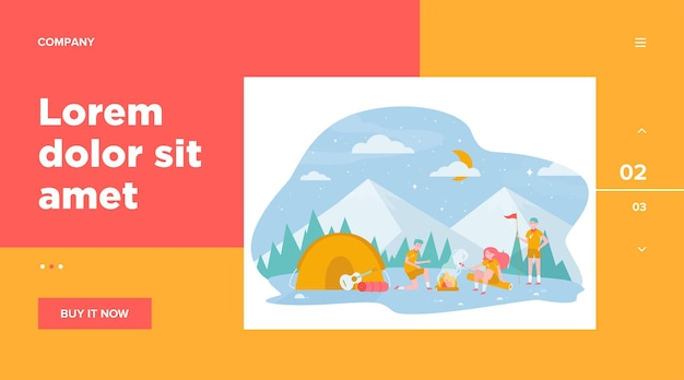 Children at campfire in mountain forest flat illustration. Free Vector