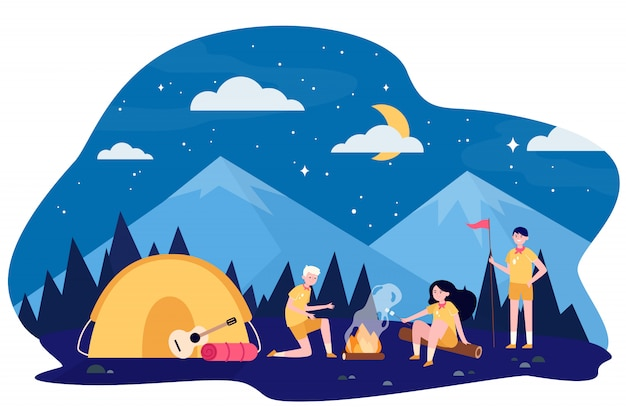 Children at campfire in mountain forest Free Vector