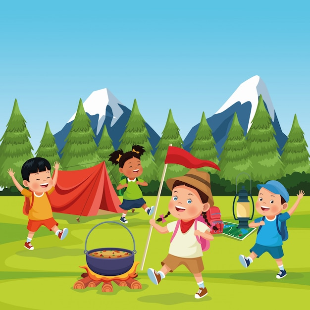 Children in a camping zone Free Vector