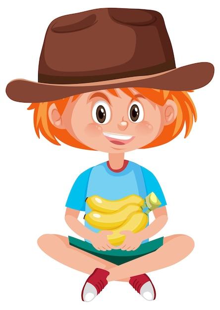 Детский мультипликационный персонаж, держащий фрукты или овощи изолированы Premium векторы