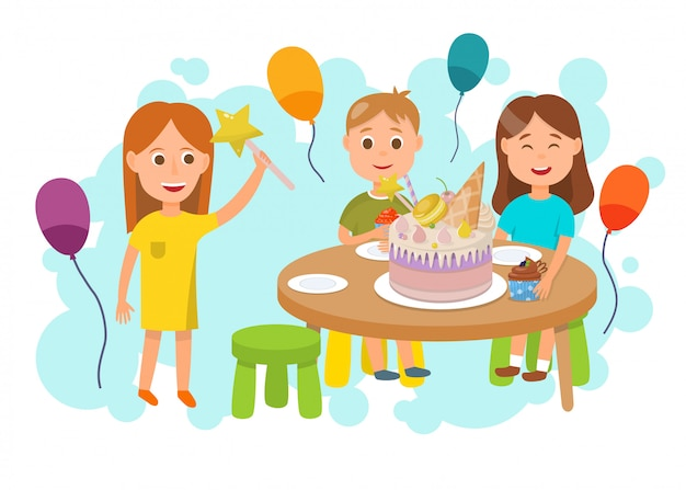 Children celebrating birthday party flat cartoon Premium Vector
