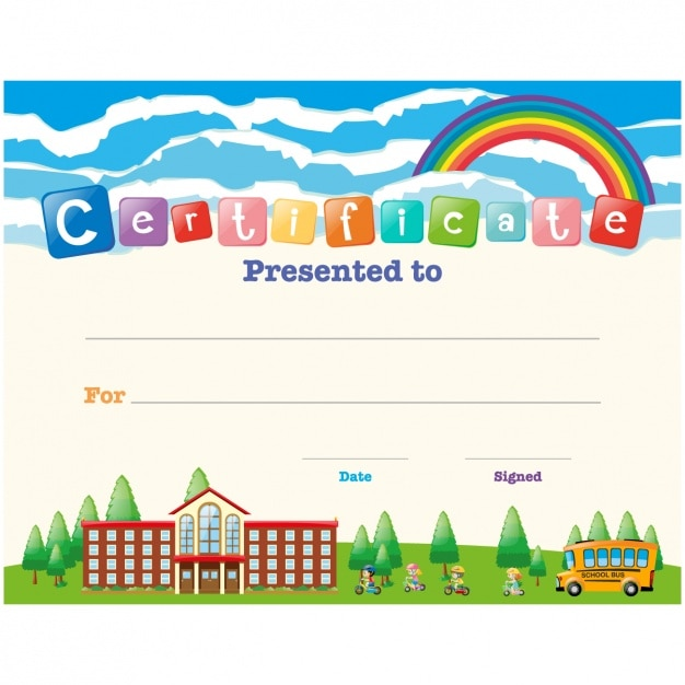 School certificate vectors photos and psd files free download children certificate design yadclub Gallery