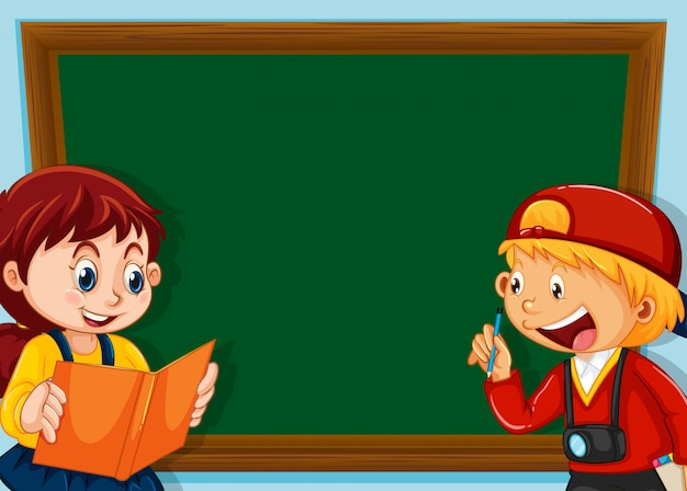 Children on chalkboard background with copyspace Free Vector