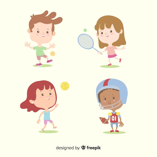Children characters collection Free Vector