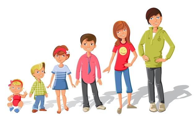 Children characters set Free Vector