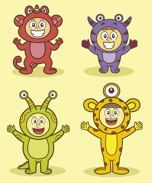 Children characters with alien costumes\ collection